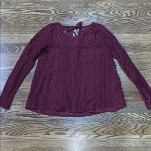 Hollister laced Maroon long sleeve top